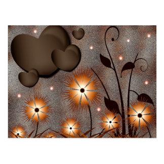 Corações & flores cartão postal
