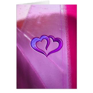 Corações gravados roxo cartão