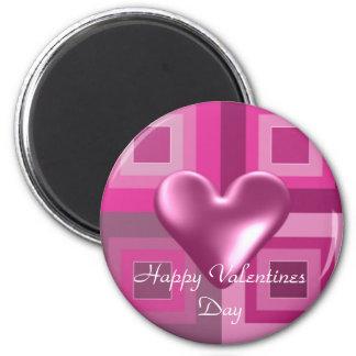 Corações inchado cor-de-rosa para o dia dos ímã redondo 5.08cm