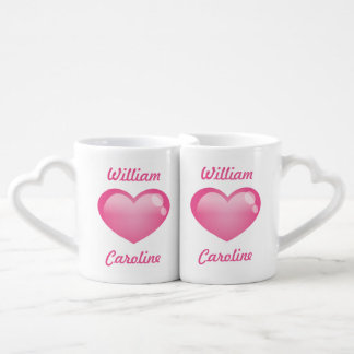 Corações lustrosos cor-de-rosa com nomes conjunto de caneca de café