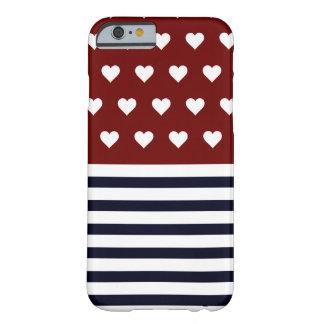 Corações náuticos listrados capa iPhone 6 barely there
