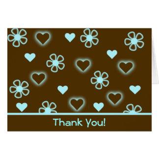Corações & obrigado das flores você! cartão comemorativo