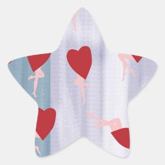 Corações & pés vermelhos adesito estrela