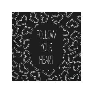 Corações preto e branco impressão em tela