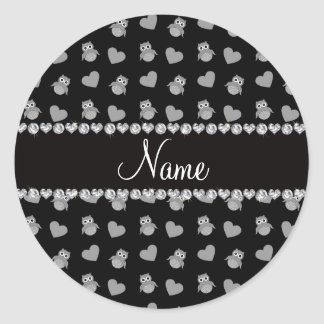 Corações pretos conhecidos personalizados da adesivos em formato redondos