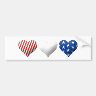 Corações vermelhos, brancos & azuis adesivo para carro
