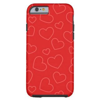 Corações vermelhos capa tough para iPhone 6