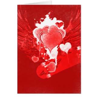 Corações vermelhos com o cartão dos namorados do