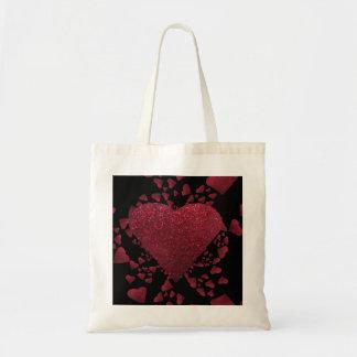 Corações vermelhos de flutuação uma sacola do bril sacola tote budget