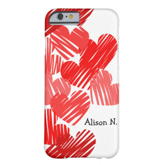 Corações vermelhos esboçado com caso conhecido do capa barely there para iPhone 6