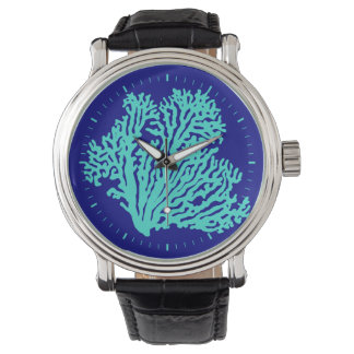 Coral de turquesa em azuis marinhos relógio de pulso