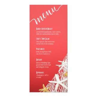 """Coral do menu   do casamento de praia da rede da convite 10.16"""" x 23.49cm"""