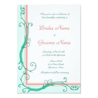 Coram convite do casamento do pêssego & da hortelã