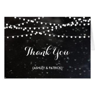 Corda preta de Bokeh de cartões de agradecimentos