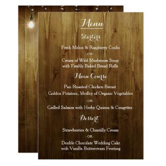 Corda rústica do menu do casamento do país das convite 12.7 x 17.78cm