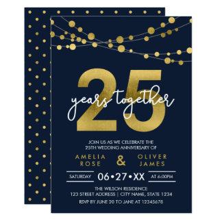 Cordas azuis aniversário de casamento das luzes do convite 12.7 x 17.78cm