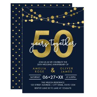 Cordas azuis do aniversário de casamento das luzes convite 12.7 x 17.78cm