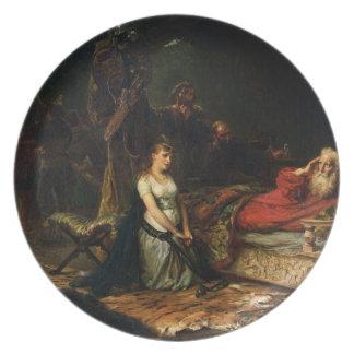 Cordelia e rei Lear (óleo em canvas) Prato De Festa