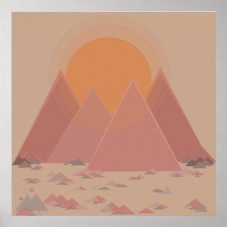 Cordilheira na paisagem rochosa no calor searing poster