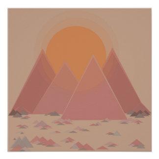 Cordilheira na paisagem rochosa no calor searing póster