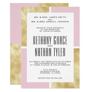 Core + Convite clássico do casamento do ouro