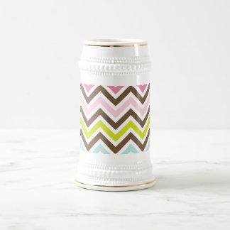 Cores astecas - teste padrão de ziguezague chique caneca de cerveja