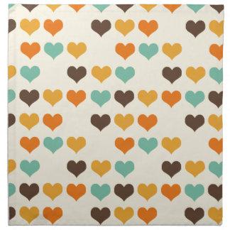 Cores dos corações do vintage guardanapo impresso
