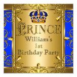 Coroa 2 do ouro dos azuis marinhos do menino do convite quadrado 13.35 x 13.35cm