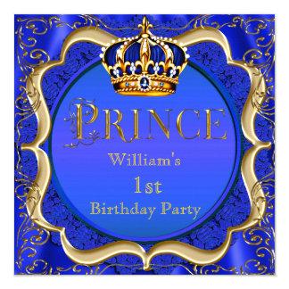 Coroa A do ouro dos azuis marinhos do menino do Convite Quadrado 13.35 X 13.35cm