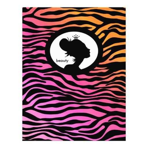 Coroa da laranja do rosa da zebra do cabelo do ins modelo de panfleto