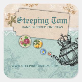 coroa de borbulhagem do bule do vintage do chá do adesivos quadrados