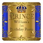Coroa do ouro dos azuis marinhos do menino do convites
