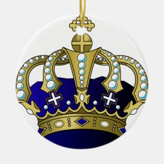 Coroa real do azul & do ouro ornamento de cerâmica redondo