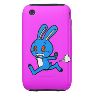 Corredor azul bonito do coelho capa forte de iPhone 3