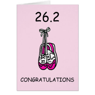 Corredor de maratona da senhora, 26,2 felicitações cartão comemorativo