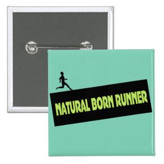 Corredor nascido natural - botões engraçados do bóton quadrado 5.08cm
