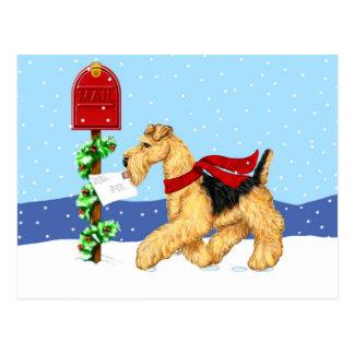 Correio de Dale do Natal de Airedale Cartão Postal