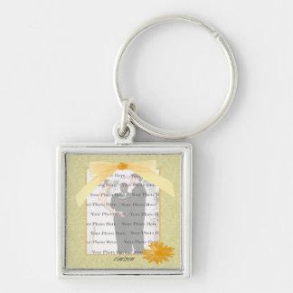 Corrente chave da foto amarela da prata do quadrad chaveiro quadrado na cor prata