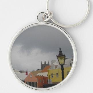 Corrente chave da fotografia legal da cidade chaveiro redondo na cor prata