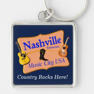 Corrente chave da lembrança de Nashville Chaveiro Quadrado Na Cor Prata
