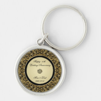 Corrente chave de aniversário de casamento dourado chaveiro redondo na cor prata