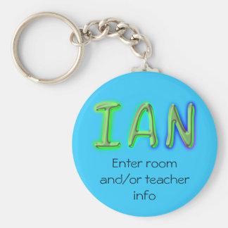 Corrente chave do nome de etiqueta de Ian Chaveiro