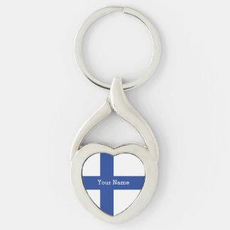 Corrente chave feita sob encomenda da bandeira chaveiro coração torcido cor prata