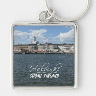 Corrente chave superior do porto de Helsínquia gra Chaveiro Quadrado Na Cor Prata