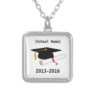 Corrente personalizada da graduação colar com pendente quadrado