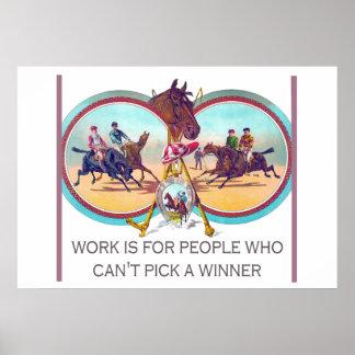 Corrida de cavalos engraçada - trabalhe para as poster