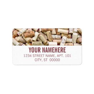 Cortiça do vinho etiqueta de endereço