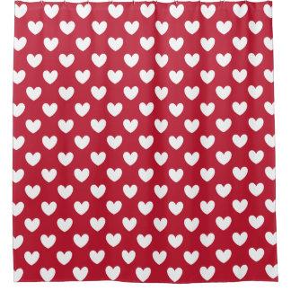 Cortina Para Box Corações brancos e vermelhos da polca