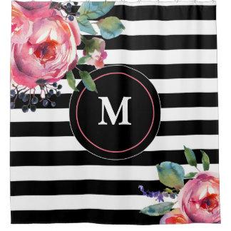 Cortina Para Box Monograma floral da listra branca preta
