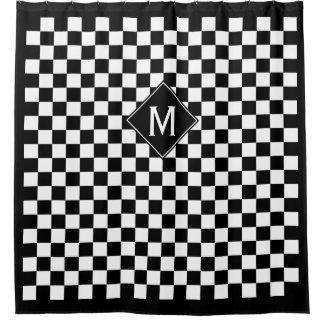 Cortina Para Box Monograma preto & branco Checkered & da caixa